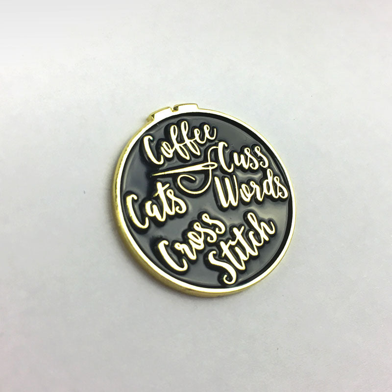 Coffee Cats Cross Stitch and Cuss Words Needle Minder  *SNARKY CRAFTER EXCLUSIVE**