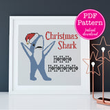 Christmas Shark Funny Holiday Cross Stitch Pattern