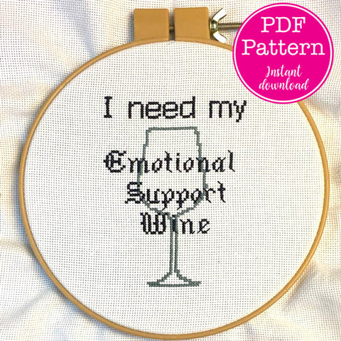 Emotional Support Wine Cross Stitch Pattern (Pattern Only)
