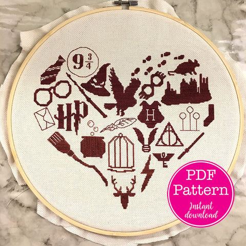 Wizarding Icons Heart Cross Stitch Pattern