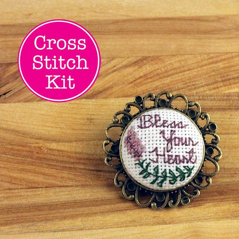 Bless Your Heart Cross Stitch Pin Kit | DIY Embroidered Vintage Brooch |  XStitch Filigree Lapel Pin Kit | Sarcastic Script Floral X-Stitch