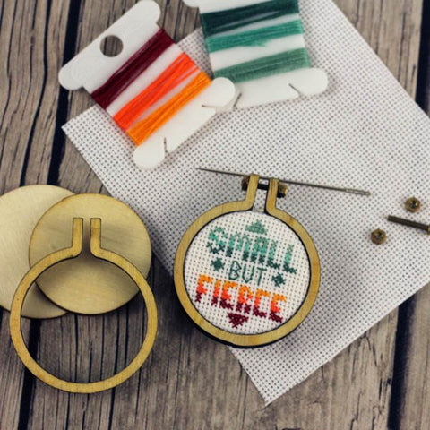 Small But Fierce Cross Stitch Pendant Kit | Miniature Framed Cross Stitch Kit | Tiny Wooden Mini Hoop Sarcastic XStitch |