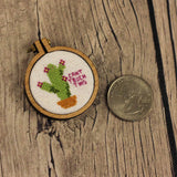 Cant Touch This Cactus Cross Stitch Pendant Kit | Miniature Framed Cross Stitch Kit | Tiny Wooden Mini Hoop Succlent Sarcastic XStitch