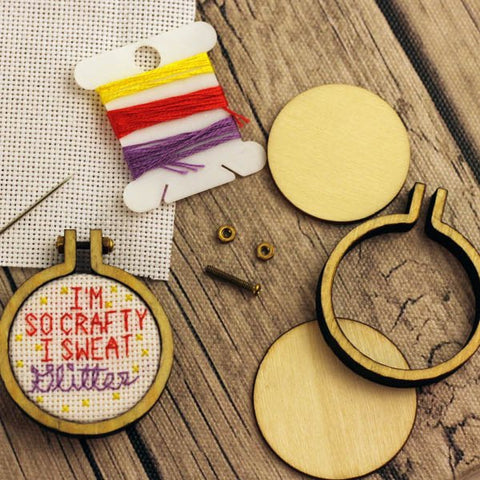 I'm so crafty I sweat glitter Cross Stitch Pendant Kit | Miniature Framed Cross Stitch Kit | Tiny Wooden Mini Hoop Sarcastic XStitch |