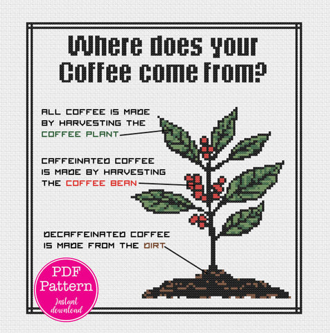 Sarcastic Decaf Coffee Cross Stitch Pattern