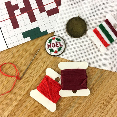 "Christmas Cross Stitch ""NOEL"" Pendant Kit"
