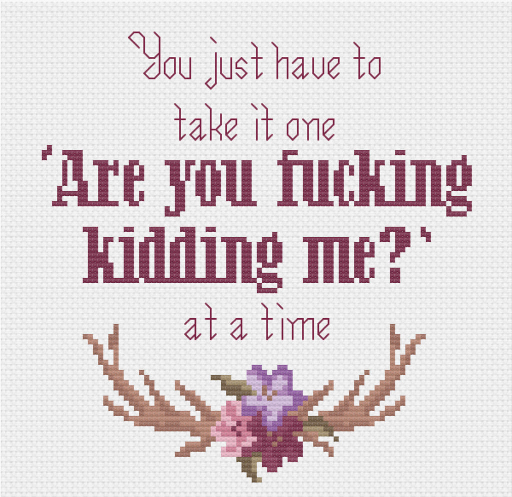 One Day at A Time F-cking Kidding Me cross stitch
