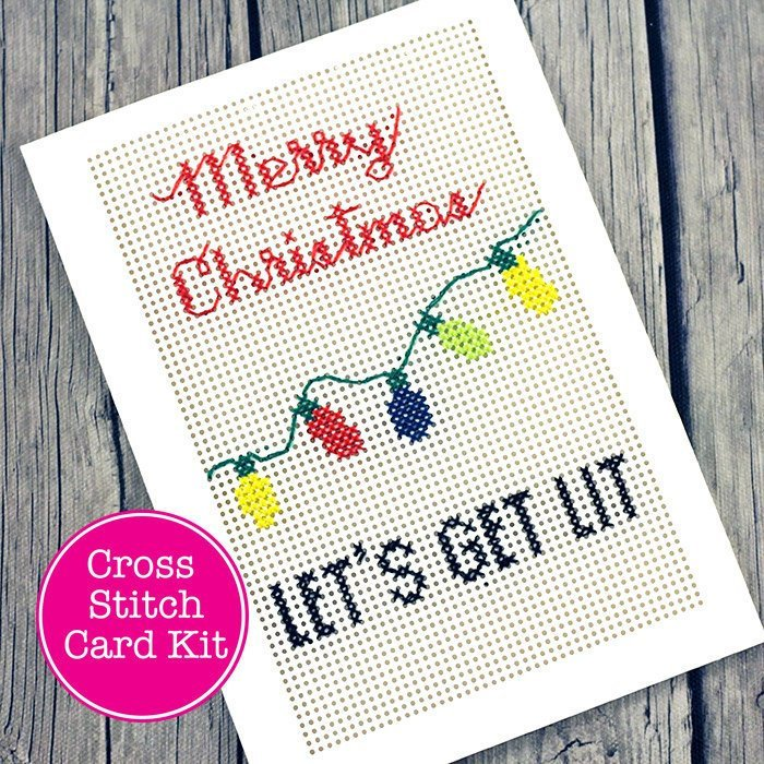 Let's Get Lit Holiday Cross Stitch Card Kit | Make Your Own Funny Christmas Greeting Card | Sarcastic DIY Stitchable Card