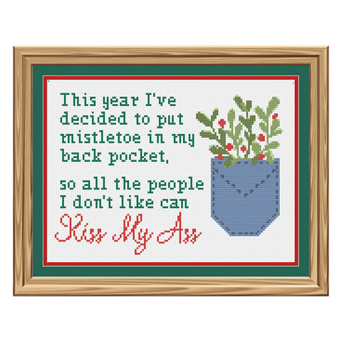 I put mistletoe in my back pocket so everyone can kiss my ass Christmas Sampler Cross Stitch Pattern