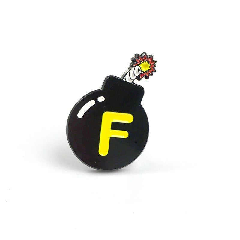 F Bomb Enamel Pin | Naughty F word Lapel Pin | Black Round f-bomb funny brooch |  Snarky Dropping F Bombs