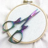 Iridescent Guitar Embroidery Scissors- Extra sharp fine tip | Small Silver or Rainbow Cross Stitch Needlepoint Snips | Guitar Lovers Scissor