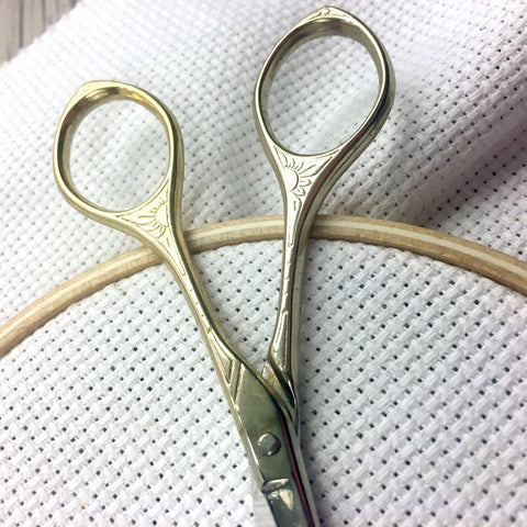 Gilded Compact Travel Size Embroidery Scissors