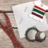 Christmas Cross Stitch Ornament Kit | DIY Cross Stitched Noel Holiday Kit | DIY Mini X Stitch Kit | Embroidery Tree Ornament Decoration