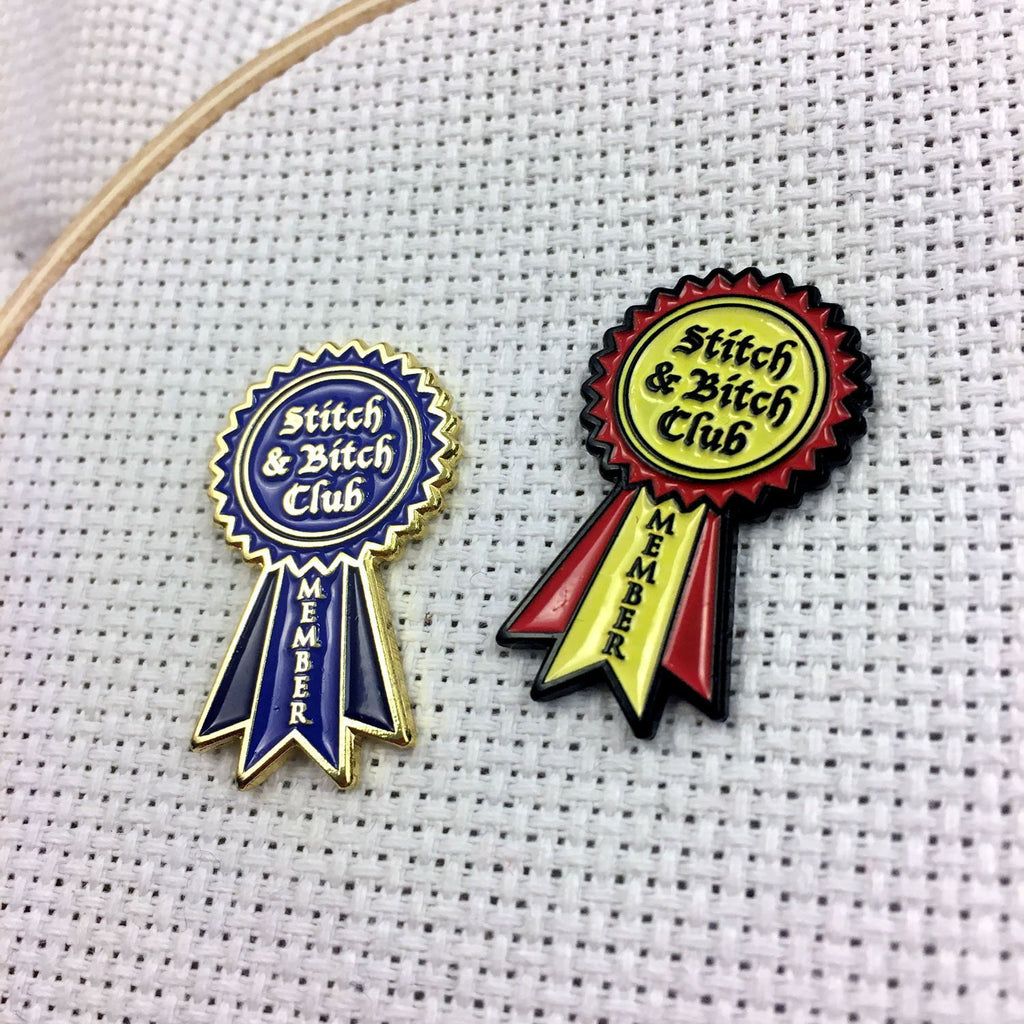 Stitch and Bitch Club Member Enamel Pin or Needle Minder