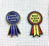 Stitch and Bitch Club Member Needle Minder | Stitch n' Bitch Award Ribbon Membership Pin Needleminder | Needle Nanny | Magnetic Hoop Flair
