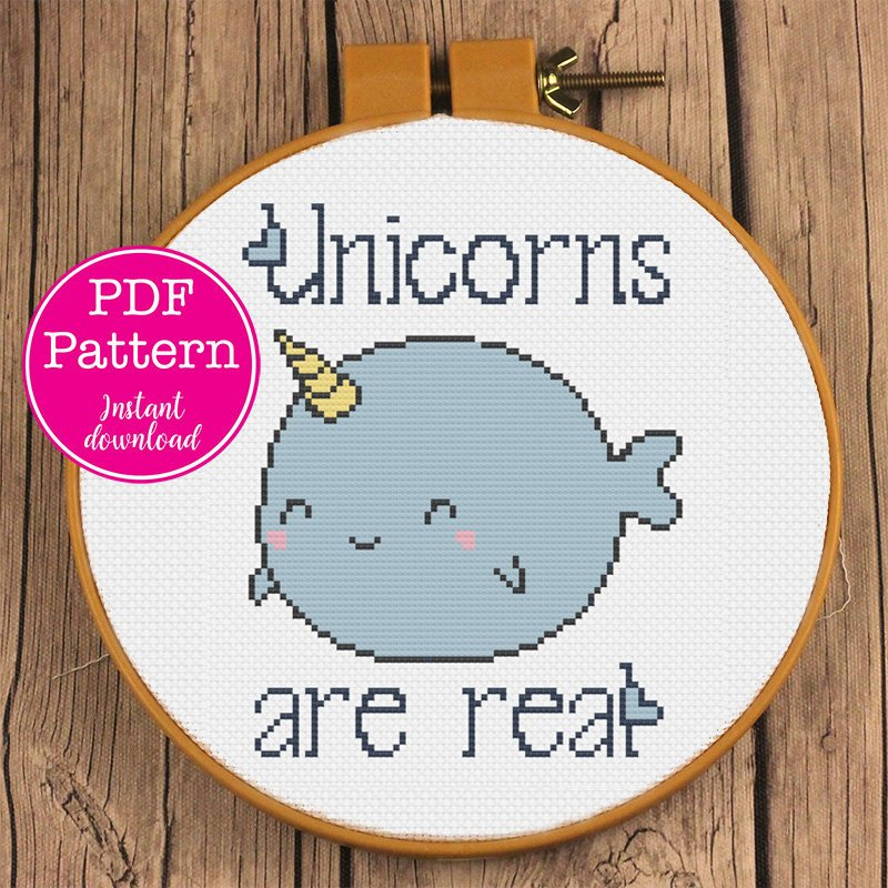 Unicorns are real Cute Narwhal Cross Stitch Pattern | Narwhale- Unicorn of the Sea Cross Stitch Design | Fat Adorable Whale XStitch