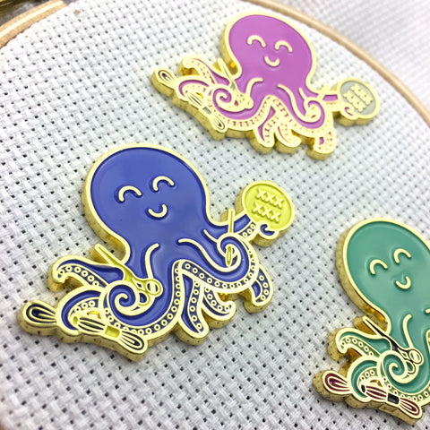 Stitching Octopus Magnetic Enamel Needle Minder