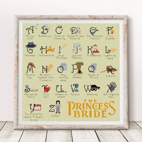 Princess Bride Alphabet Sampler Cross Stitch Pattern