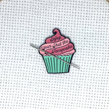 Enjoy Your Shut the Fucupcake Enamel Needle Minder | Magnetic STFU Cupcake Needle Nanny | Pink, Chocolate, Purple Frosted Snark Needleminder