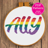 Rainbow Ally LGBT Supporter Cross Stitch Pattern