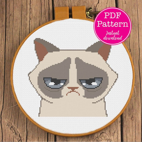 Grumpy Cat Portrait Cross Stitch Pattern