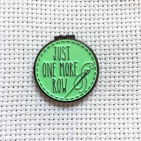 Just One More Row Cross Stitching Enamel Needle Minder