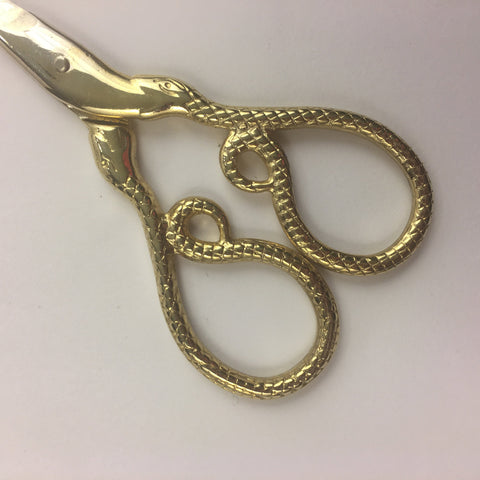 Snake Embroidery Scissors | Gold Serpent Cross Stitch Sewing Scissors | Coiled Snake Brass Fine Point Scissors | Viper Snips