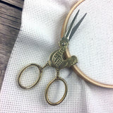 Chicken Embroidery Scissors | Gold Poultry Cross Stitch Sewing Scissors | Cock a Doodle Doo Rooster Brass Fine Point Scissors | Viper Snips