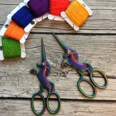Iridescent Unicorn Embroidery Scissors | Small Fine Tip Unicorn Horn Sewing Scissors | Rainbow Metal Colorful Cross Stitch Thread Snips