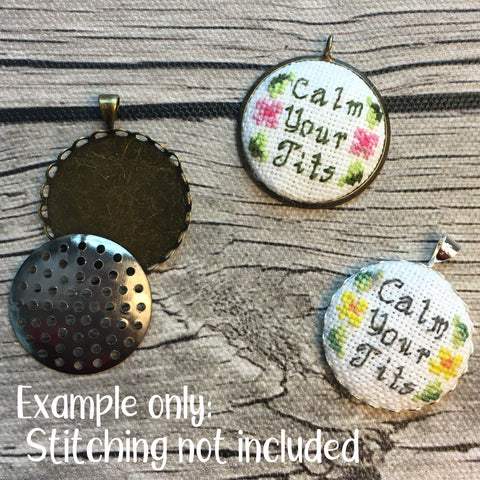 Stitchable empty Cross Stitch - Embroidery Pendants Set of 3 | DIY Cross Stitch Necklace Charm | Empty Mini Frame for Stitched Jewelry Charm