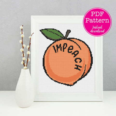 Impeach Peach Political Cross Stitch