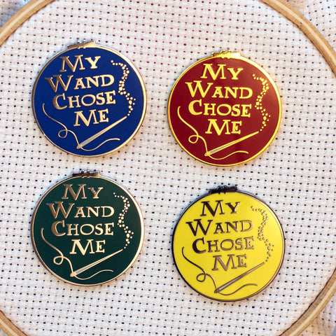 My Wand Chose Me Wizarding House Needle Minders | Magic Wand Sewing Needle Magnets | Embroidery Cross Stitch Enamel Needleminders for Wizard