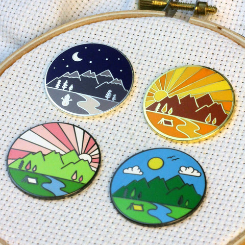 Four Seasons Magnetic Enamel Needle Minder (Set of 4)  Fall, Spring, Summer, Winter | Outdoor Mountains Travel Sunrise Sunset Needleminder
