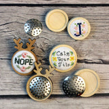 Stitchable Wooden Brooches -Empty Cross Stitch Embroidery Wooden Circle or Antler Pin