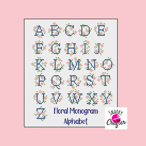 Cross Stitch Alphabet Monogram Letters - Floral Vine Wrapped Lettering