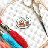 Handmade Hygge Magnetic Enamel Needle Minder-Set of 4: Tea Cat Mittens Scarf Bicycle | Knit Crochet Enjoy the Ride Time for Tea Needleminder