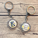 Stitchable Silver Filigree Empty Keychain