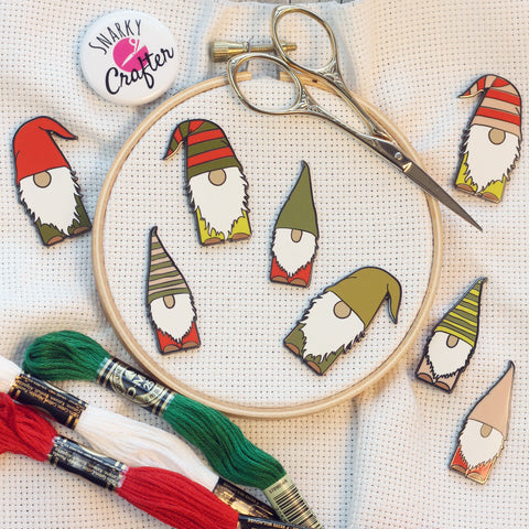 Gnomes Enamel Needle Minders | Scandinavian Christmas Elf Leprechaun Needleminder | Little Holiday Red Green Gnome Magnetic Needle Nanny