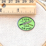 I Stitch So I Don't Stab People Needle Minder with Knife and Sewing Needle| Funny Enamel Needleminder for Cross Stitch Embroidery Quilting
