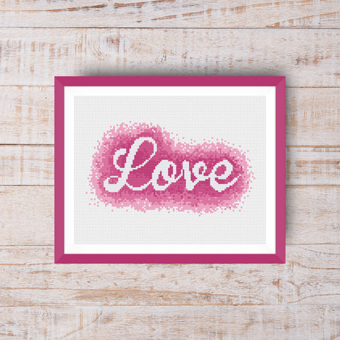Watercolor Love Valentine's Day Cross Stitch Pattern