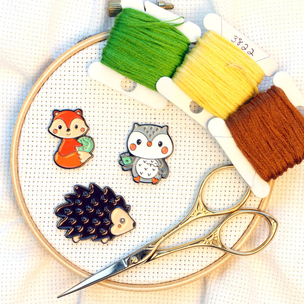 Crafty Woodland Creatures Needle Minders | Cute Stitching Hedgehog, Owl, Fox Needle Nanny | Cross Stitch or Embroidery Needle Holder Magnet