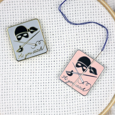 "Hard Enamel ""As You Stitch"" Magnetic Needle Minder 