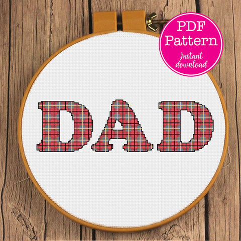 Tartan Plaid Dad: #1 Sperm Donor Funny Father's Day Cross X-Stitch Stitch Patterns (Two Options)