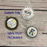 Empty Cross Stitch or Embroidery Pendants with Inserts- Set of 3