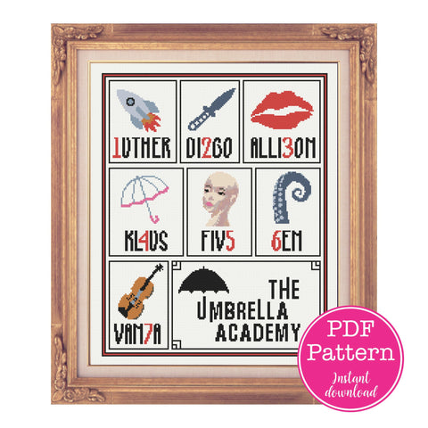 Umbrella Academy Member Cross Stitch Sampler:  Luther, Diego, Allison, Klaus, Five (Delores), Ben & Vanya