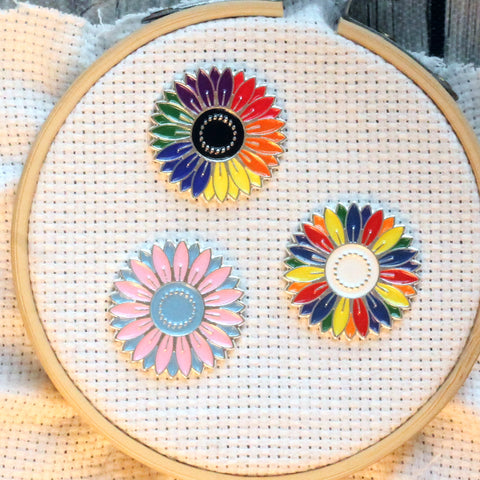 Charitable Rainbow Daisy Flowers Enamel Needleminders