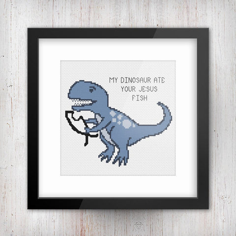 My Dinosaur Ate Your Jesus Fish Sarcastic Pro-Science Cross Stitch