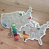 Stitchable Wooden US State Map | Cross Stitch & Embroidery United States Perforated Wood Map | Plywood Needlepoint Wedding or Moving Gift
