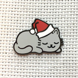 Sleepy Christmas Kitty Magnetic Enamel Needle Minder