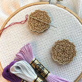 Floral Mandala Engraved Wooden Needle Minders
